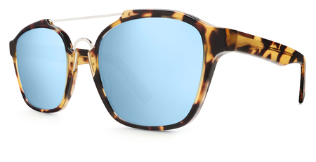variegated: sunglasses spotted brown, blue mirror lenses isolated on white background.
