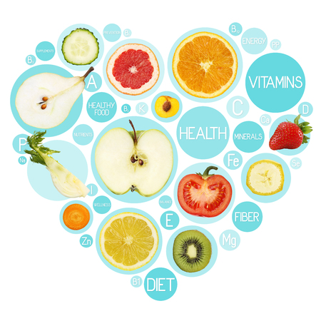 Fruit symbols in heart shape, diet concept. Stock Photo