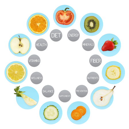 Fruit symbols, diet concept.