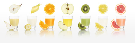 phosphorus: fruits juice glasses  isolated on white background, diet concept and panorama web banner.