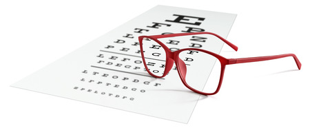 red eyeglasses on visual test chart isolated on white. Eyesight concept.