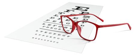 rode bril op visuele test grafiek geïsoleerd op wit. Gezichtsvermogen concept.