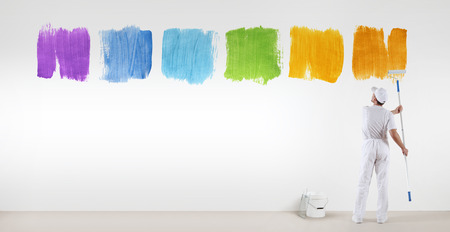 painter man painting varied colors symbol isolated on blank white wall background, banner web.