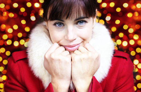 dearly woman portrait for Christmas holiday. Stock Photo