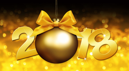 event party: happy new year christmas ball with golden ribbon bow and 2018 text on golden blurred lights background. Stock Photo