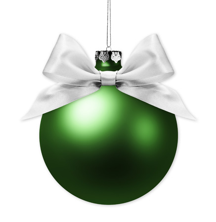 christmas green ball isolated on white background with silver ribbon bow.