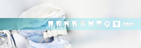 Dental technician concept articulator tool with teeth icons and symbols web banner background.