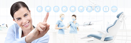 dental care concept, beautiful smiling woman on dentist clinic background with teeth icons and dentist's chair, pointing finger, web banner template .