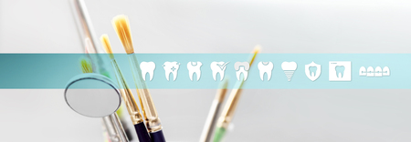Dental technician concept tools with teeth icons and symbols web banner background Stock Photo