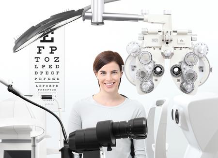 optometrist exam, eyesight  woman patient in optician office.