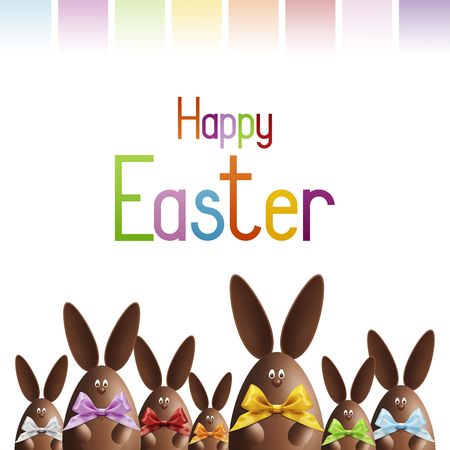 happy easter gift card, chocolate bunnies with ribbons bows in various colors on white background. Stock Photo