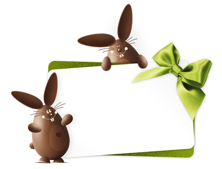 happy easter, chocolate funny bunnies showing the gift card with green ribbon bow isolated on white background, copy space banner template. Stock Photo