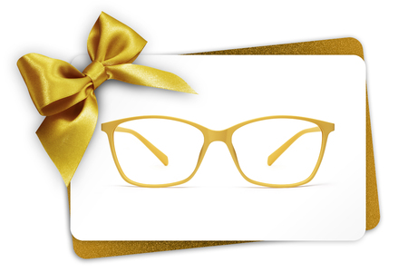 eyeglasses gift card, spectacles and golden ribbon bow, isolated on white background.