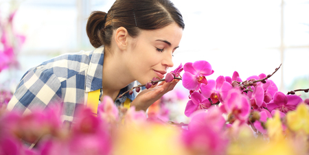 woman smells the flowers in the garden, fragrance of orchids. Imagens