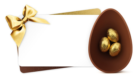 Easter gift card with golden easter ribbon isolated on white background.