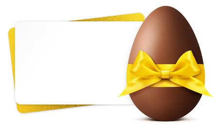 Easter gift card with chocolate easter egg isolated on white background.