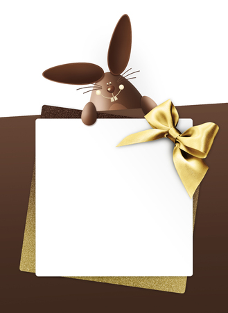 Easter card with easter bunny and easter egg isolated on white background.