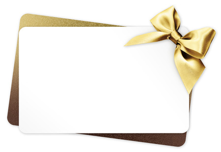 gift card with golden ribbon bow Isolated on white background. Stok Fotoğraf