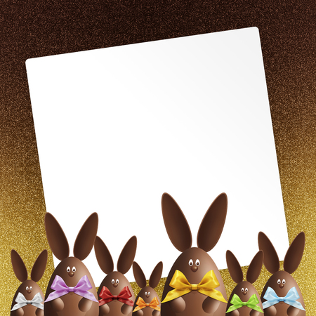 happy easter gift card, chocolate bunnies with ribbons bows, on shiny golden background.
