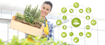 gardening equipment e-commerce icons, smiling woman with wooden box full of herbs on white background, spring garden concept.
