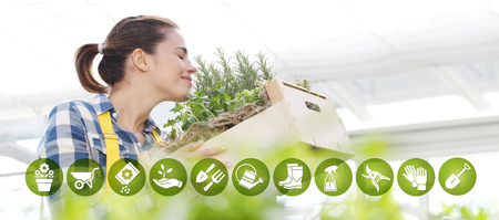 gardening equipment e-commerce icons, smiling woman smell aromatic spice on white background, spring garden concept. Stok Fotoğraf
