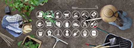gardening equipment e-commerce concept, online shopping icons, man and woman together work in the vegetable garden, place a plant in the ground, top view from above