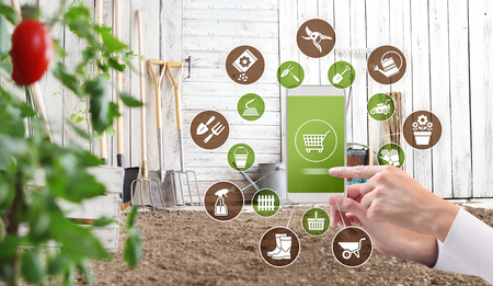 gardening equipment e-commerce concept, online shopping on smart phone, hand pointing and touch screen with tools icons Stok Fotoğraf