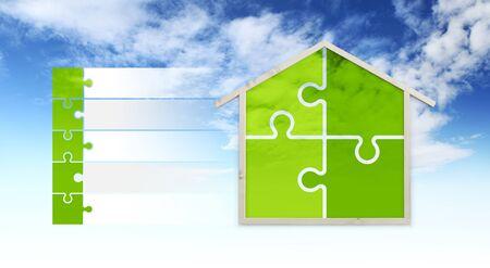 huisvorm en puzzelsymbolen, geïsoleerd op de hemelachtergrond, infographic voor groene gebouwen en bespaar energie eco-duurzaamheid.