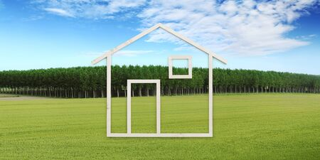 wooden house isolated on white background, green meadow, green building ecology house concept.