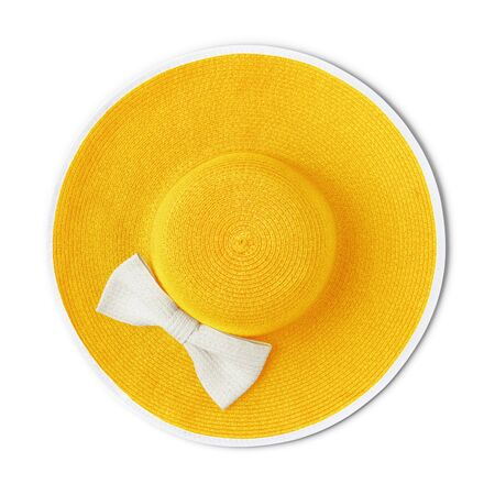 top view summer beach straw yellow hat with white bow isolated on white background.
