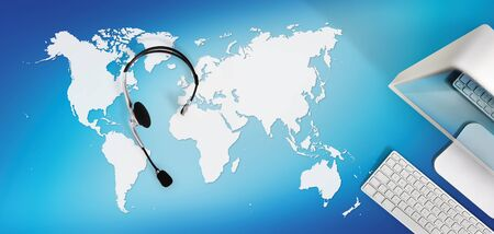 contact concept, top view desk with computer headset isolated on blue background with global map, international booking concept.