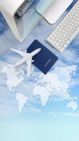 air travel concept, computer, passport and airplane isolated on sky background with global map.