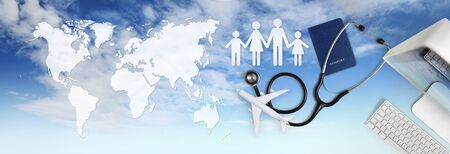 international medical travel insurance concept, stethoscope, passport, computer, family shape and airplane on sky background with global map.
