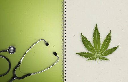 marijuana symbol medical concept, notebook paper pages with stethoscope, marijuana leaf icon isolated on white, copy space blank template. Stockfoto