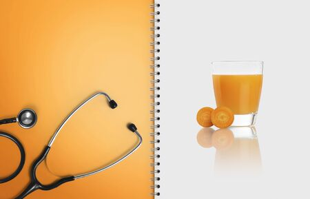 concept of a medical food and diet plan on a white background, copy space blank template.