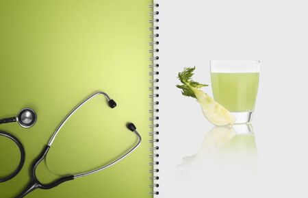 concept of healthy food and medical diet, white paper, copy space blank template. Stockfoto