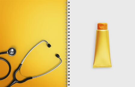 medical sunscreen, paper notebook pages with stethoscope and orange color tube sun cream lotion isolated on white background, copy space blank template. Stockfoto