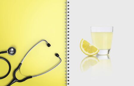 concept of healthy food and medical diet, paper notebook with white paper, copy space blank template ..