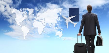 international business man walking with trolley and briefcase, airplane, and passport on blue sky with map background.