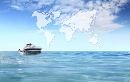 a luxury private motor yacht on tropical sea with blue sky clouds sunshine, international map on empty background copy space. Stockfoto
