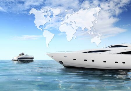a luxury private motor yacht on tropical sea surface with blue sky clouds sunshine, international map on empty background copy space.
