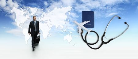 international travel medical insurance concept, business man with trolley, stethoscope, airplane, passport on blue sky with map background.