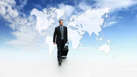 international business travel, success concept walking with trolley and briefcase, on blue sky with map background.