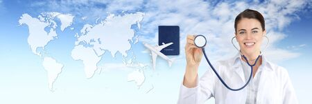 international travel medical insurance concept, smiling doctor woman showing, stethoscope, airplane, passport on blue sky with map background.