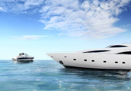 a luxury private motor yachts on tropical sea surface with blue sky clouds sunshine, empty background copy space.