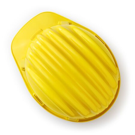 yellow safety helmet top view isolated on white background. Stockfoto