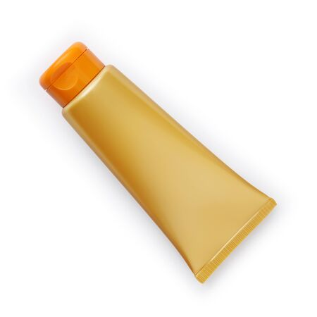 golden and orange sunscreen tube solar cream isolated on white background. Stockfoto