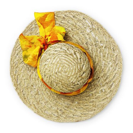 top view female straw hat with bow and ribbon isolated on white background.