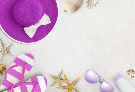 Top view of purple and pink beach accessories isolated on white background vacation and travel concept.