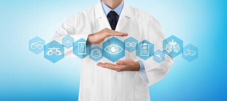 concept of eye examination, optician hands protecting eye icon, prevention and control, web banner infographics with diagnostic tools symbols, isolated on blue background.